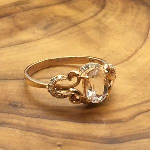 VintageRose gold Simulated Morganite diamond ring